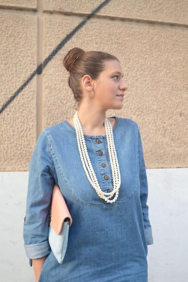 Denim dress and pearls